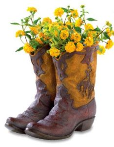 container gardening in cowboy boots